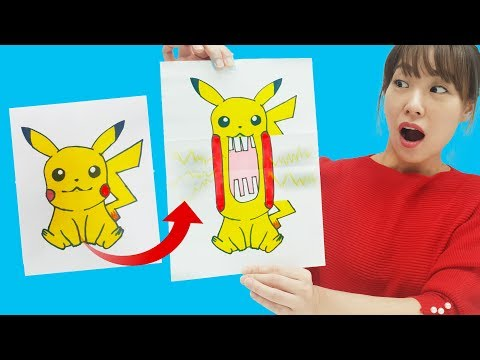 Pikachu's Mouth Is So Big! Pokémon Ghost Folding Drawing Paper CraftsᅵJOYPONG