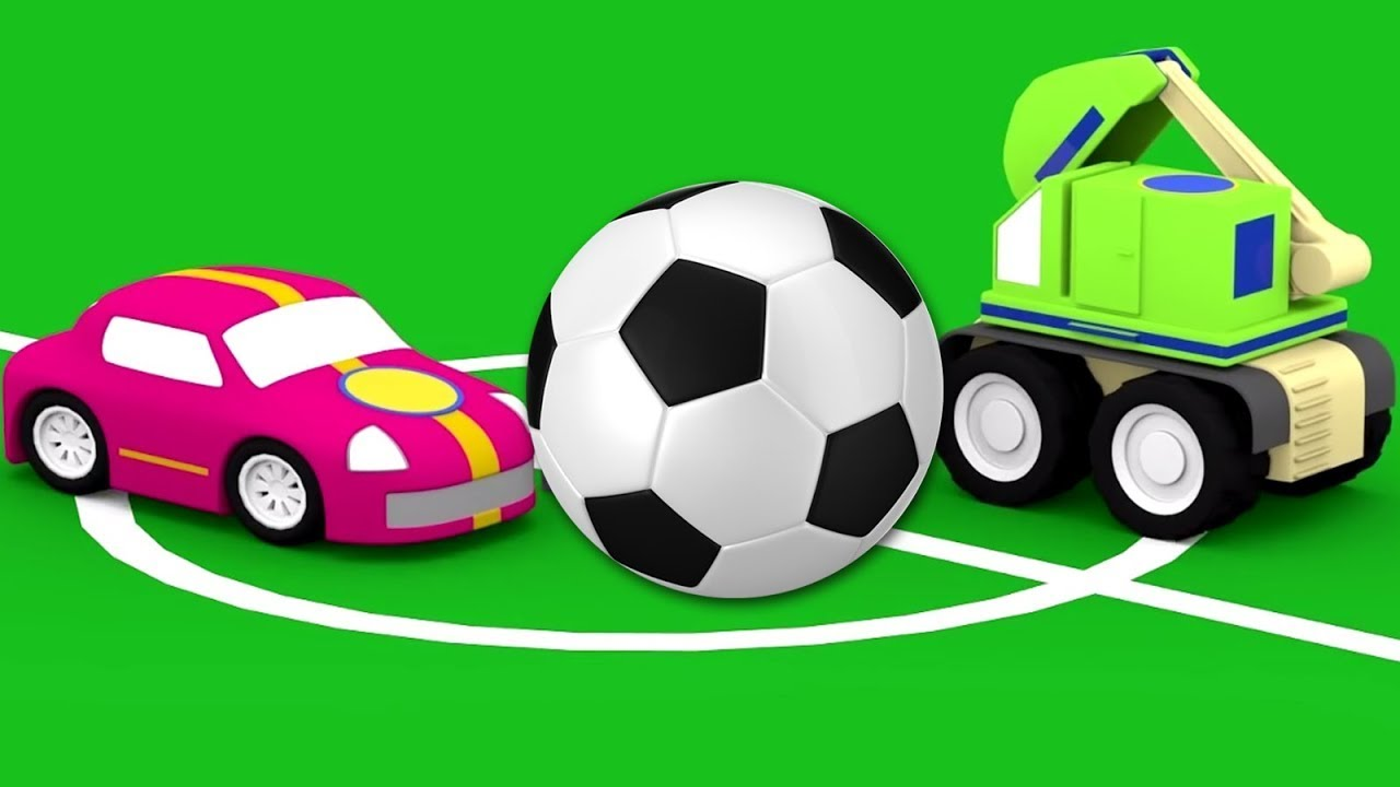 4 carros jogando futebol.  Desenhos animados de carros para crianças