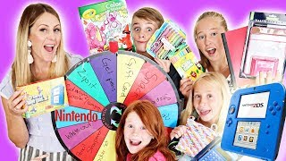 Mystery Wheel Controls our Back To School Shopping!! Who will win the Nintendo DS??