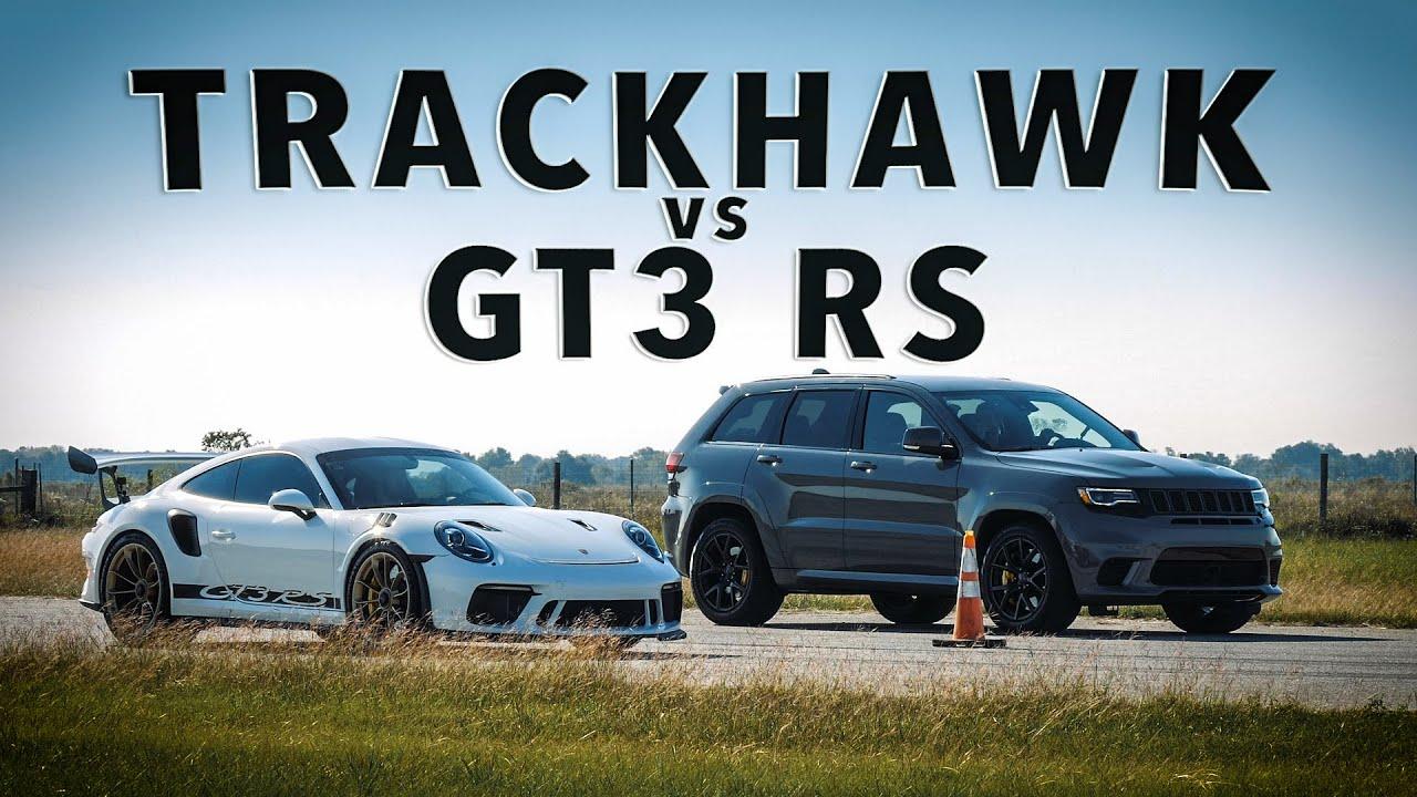 PORSCHE GT3 RS vs JEEP TRACKHAWK // Drag Race Comparison!