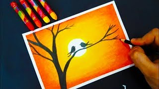 Gun Batimi Pastel Boya Ile Cizimi How To Draw Scenery Of Sunset With Oil Pastels Step By Step Youtube