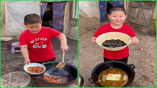 Grateful little boy cook food & dessert 조리 クック for grandparent , Rural lifestyle little chef