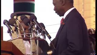 Moi 1997 Swearing in as President of the Republic of Kenya.
