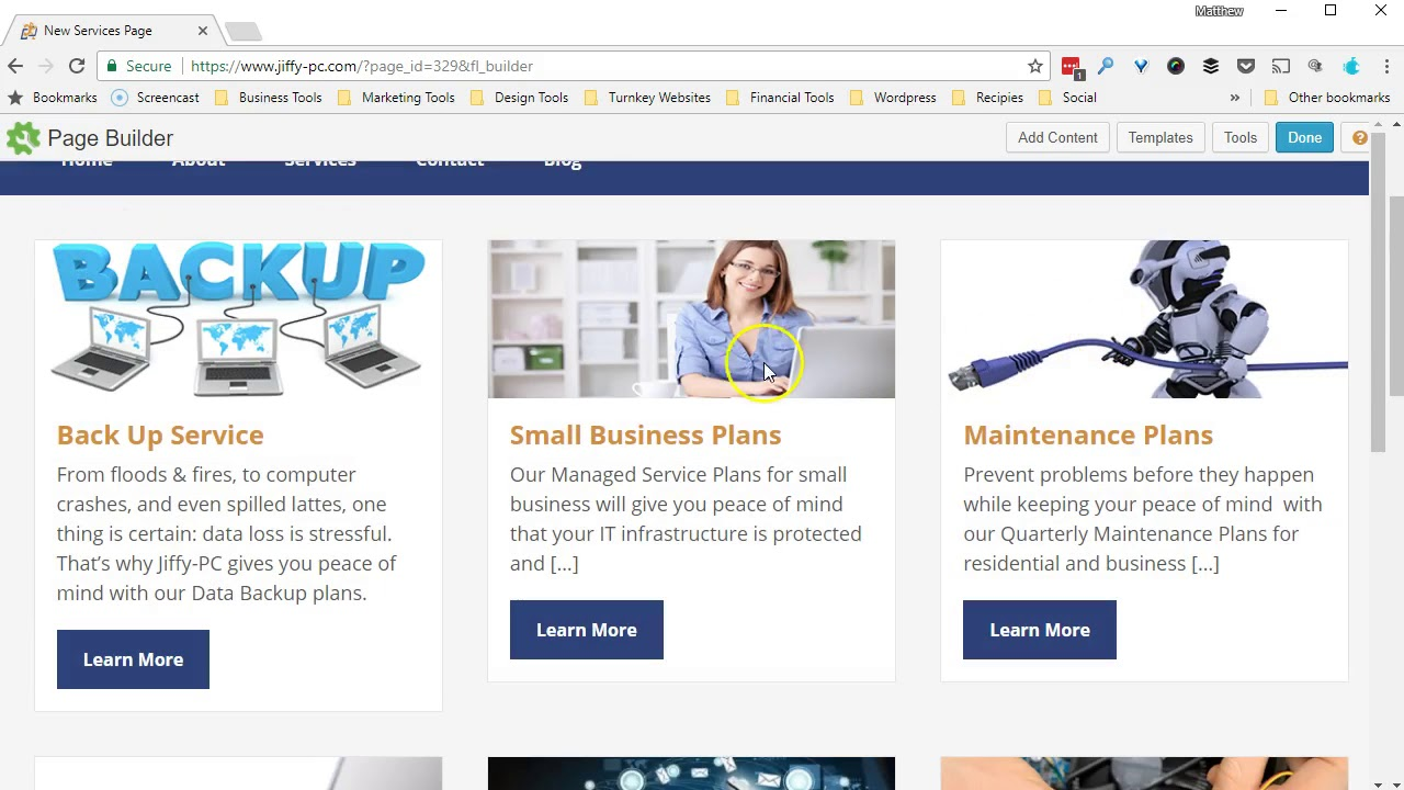 Tech Site Builder Tutorial: Page Builder Services Template - YouTube