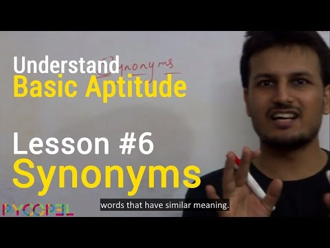 Synonyms (Aptitude Test) Video (in Hindi) l Pyoopel.com