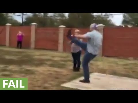 Kicking football gender reveal goes horribly wrong