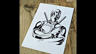 How To Draw Deadpool  - Tribal Tattoo Design Style - Marker portrait