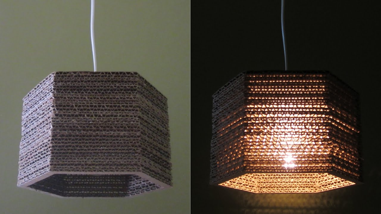 Cardboard lamp diy hexagon best out of waste project for Project of best out of waste