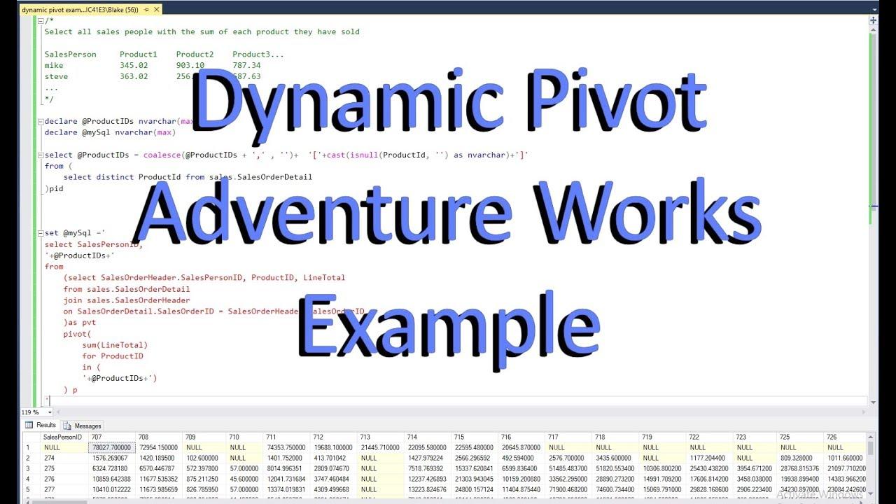 Sql Dynamic Pivot Example Adventure Works Youtube