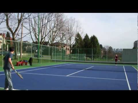 Amateur Tennis-Hard Court Match-Burnaby, Metro Vancouver-BC