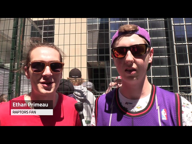Excited Raptors fans explain why they line up early in the day for a spot in outdoor fanzone Jurassic Park beside Scotiabank Arena for Game 4.