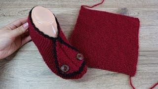 Простые следки спицами из прямоугольников 🍒 Eatzy Rectangle Slippers knitting pattern