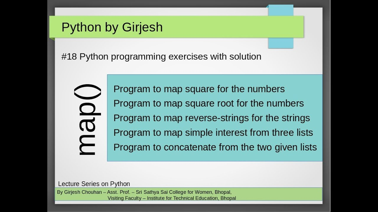 Q 61 to Q 65 Python - Solved Practice Exercises implementing map function