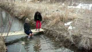 "Homemade Bridge Crossing The Creek To Our ""island"""