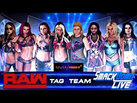 WWE 2K18 - 8 WOMAN TAG TEAM - SMACKDOWN LIVE VS RAW