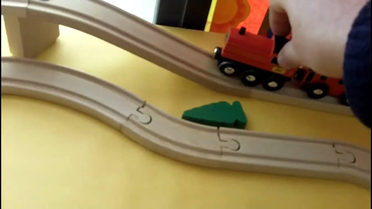 Melissa Doug Swivel Bridge Train Set Youtube