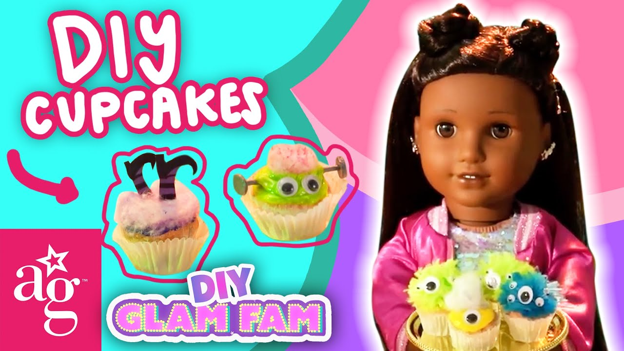 Glam Fam Make Cotton Candy MONSTER Cupcakes! Halloween DIY 🎃 | GLAM FAM KNOWS HOW | @American Girl