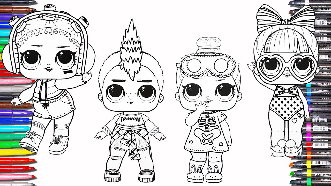 lol surprise dolls coloring book pages videos printable