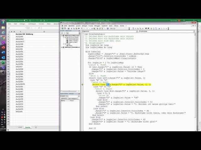 121. Excel-VBA: Die richtige Syntax von Nummern prüfen - unter anderem: