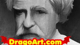 How to Draw Mark Twain, Mark Twain, Step by Step