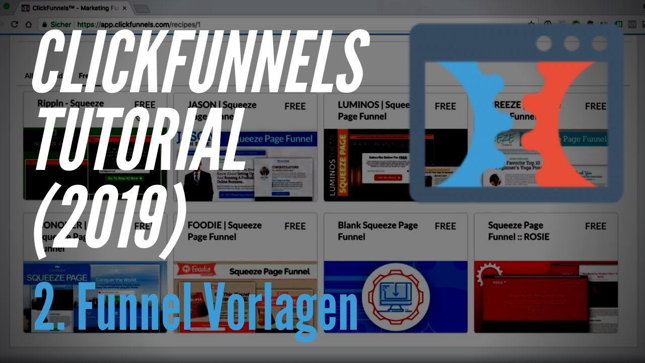 Clickfunnels Tutorial deutsch (2019) - 2. Funnel Vorlagen