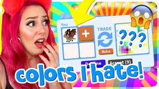 I Tried Trading With Only COLORS I HATE!! Roblox Adopt Me Trading Challenge