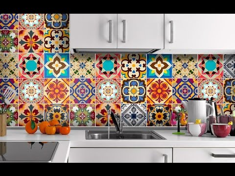 Azulejos adhesivos para cocina youtube - Pegatinas para azulejos ...