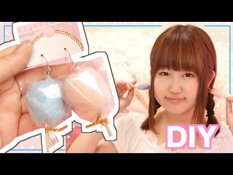 DIY miniature cotton candy earrings tutorial