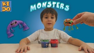 Умный пластилин жвачка для рук лепим монстров для детей  Silly putty sculpt monsters for kids