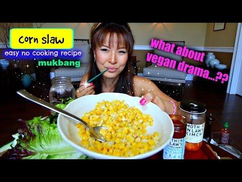 CREAMY VEGAN CORN SLAW Mukbang & Recipe