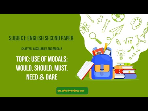 16.English 2nd Paper(Class 6)- Auxiliaries & Modals - Use of Modals-Would, Should, Must, Need & Dare