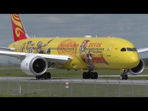 """Hainan Airlines """"Kung Fu Panda"""" 787-9 Dreamliner [B-7302] Landing and Takeoff at Calgary Airport ᴴᴰ"""