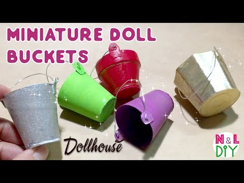 DIY Miniature Buckets for Dollhouse | How to make mini Bucket