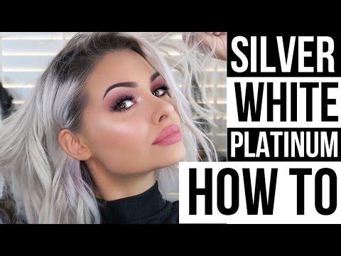 SILVER/WHITE/PLATINUM HAIR AT HOME + HOW I STYLE SHORT HAIR | Talia Mar