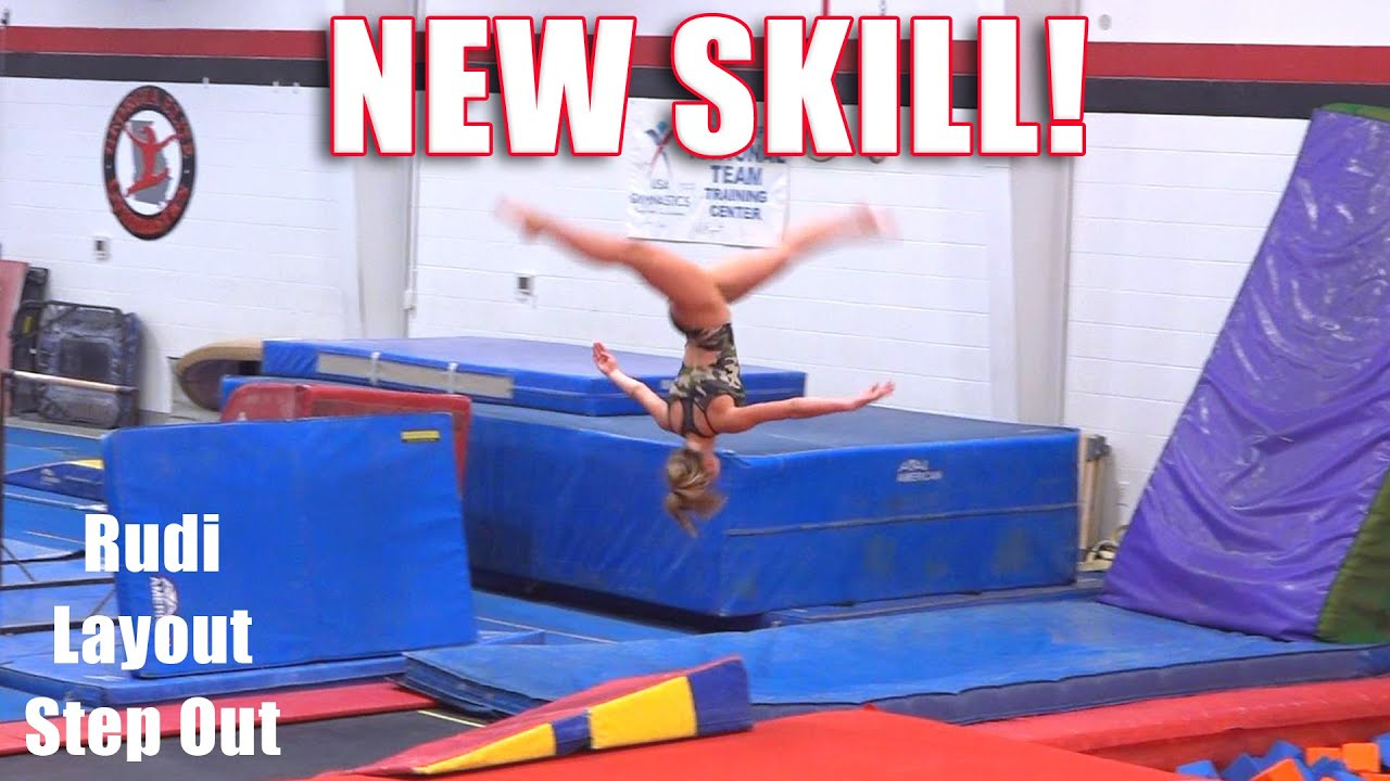 NEW SKILL! | Rudi Layout Step Out | Whitney Bjerken Gymnastics