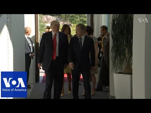 Trump and First Lady welcomed by Finland's Niinisto