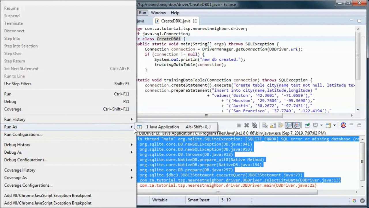 TSP + Nearest Neighbor + SQLite DB + JAVA