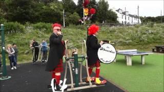 The Absurdist Pipe Band. Clown drill machine.
