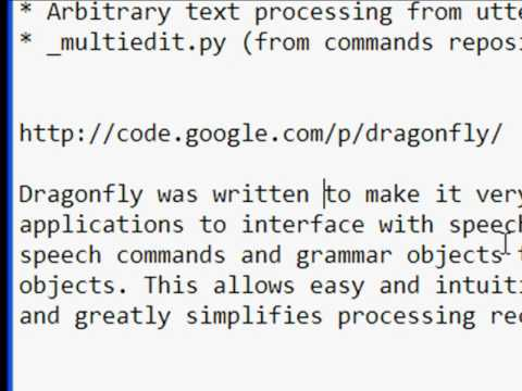 Dragonfly mini-demo of continuous command recognition