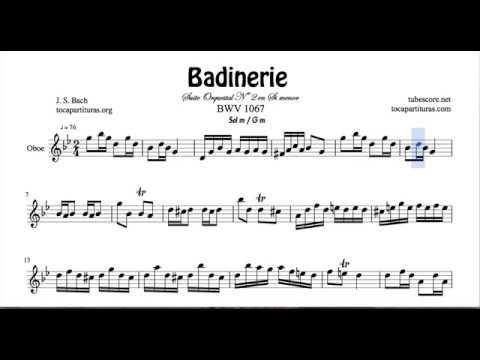 Badinerie J. S. Bach Sheet Music for Oboe G minor