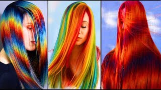 Top  Amazing Colorful Rainbow Long Hair Transformation Tutorials Compilation! Dying Long Hair