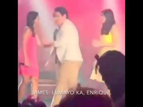 Enrique kisses Nadine on the cheek. Watch how James reacts