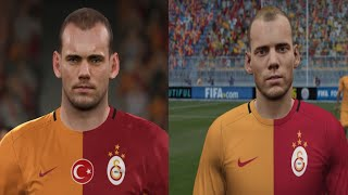 FIFA 16 vs PES 2016   Galatasaray Yüzler Face Comparison |HD 1080p