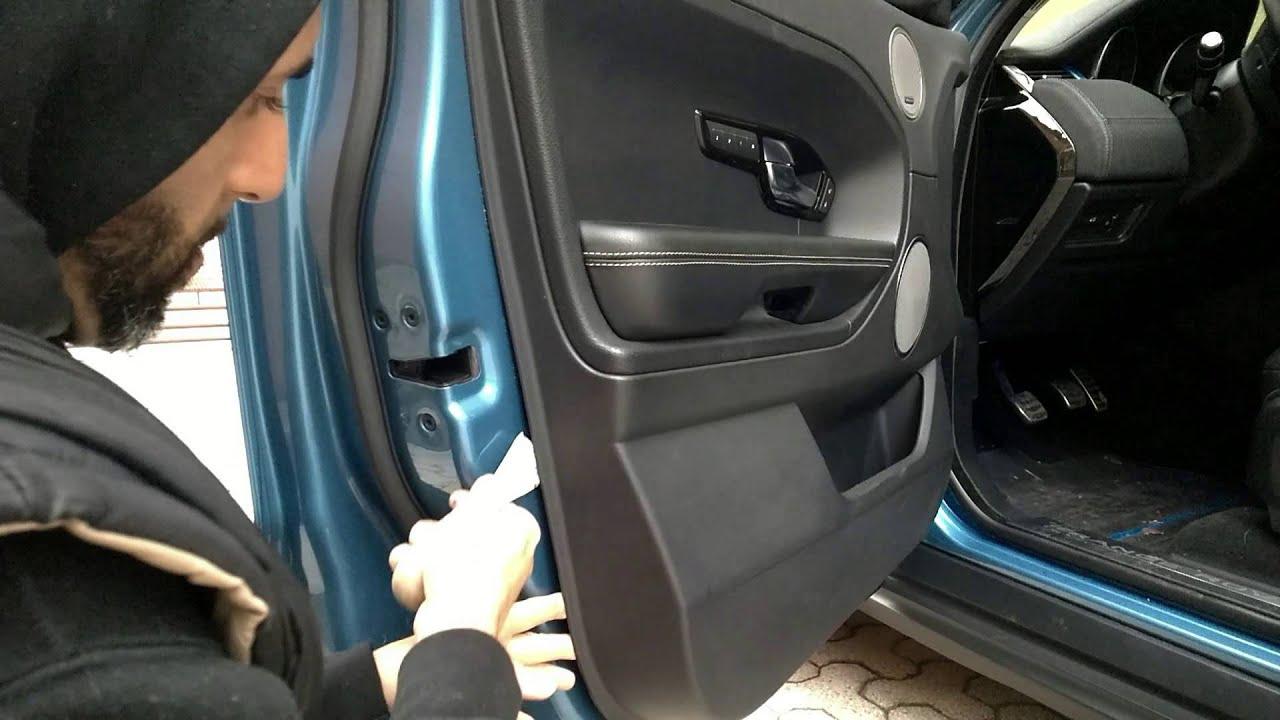 smontaggio pannello portiera range rover evoque youtube. Black Bedroom Furniture Sets. Home Design Ideas