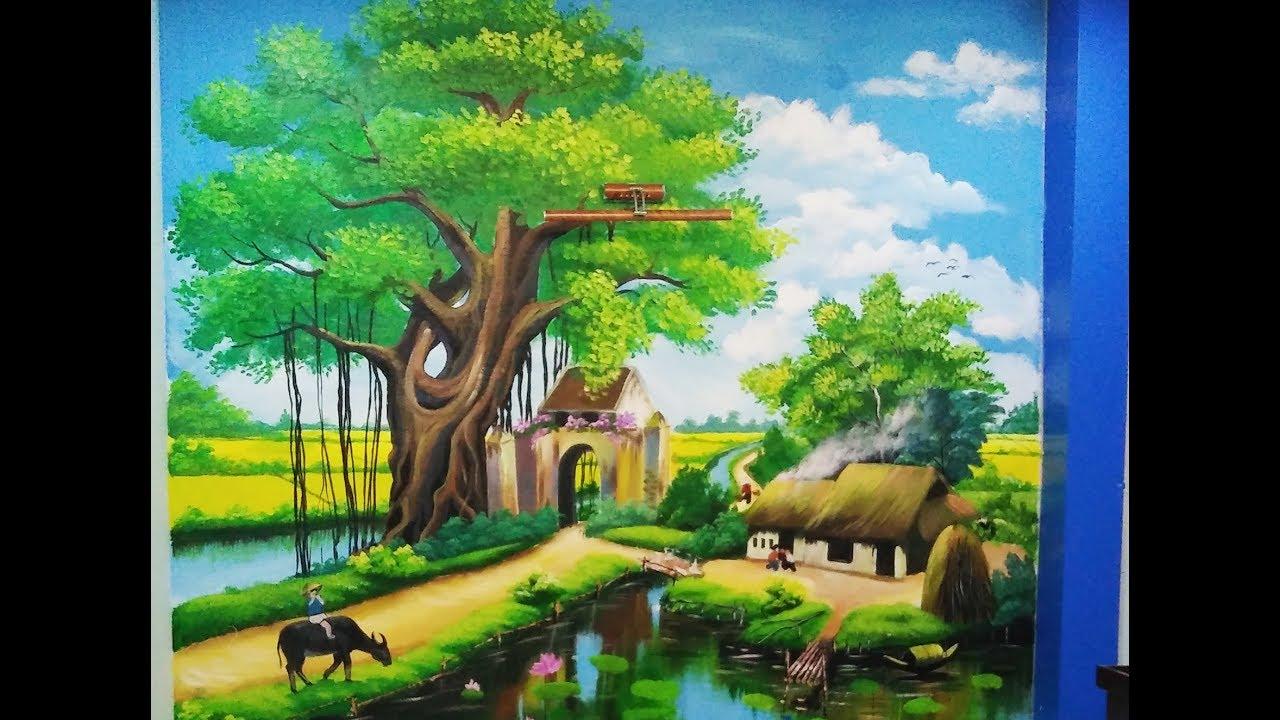 Vẽ tranh tường phong cảnh đồng quê.