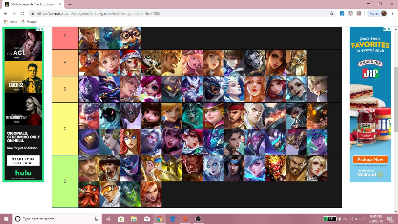 Mobile Legends Tier List 2019