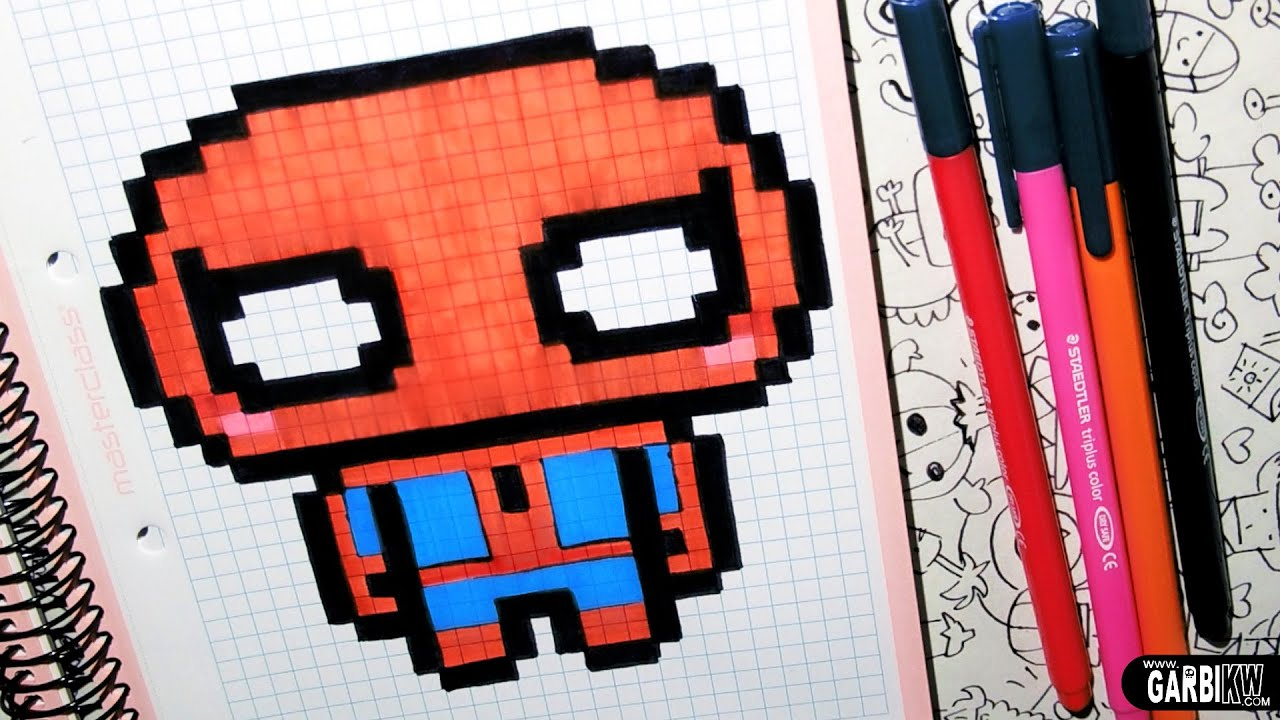 handmade pixel art how to draw a cute spider man by garbi kw youtube