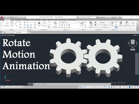 How To Create 3D Gear Rotate Motion Animation In AutoCAD - Script (Rotate)  Command