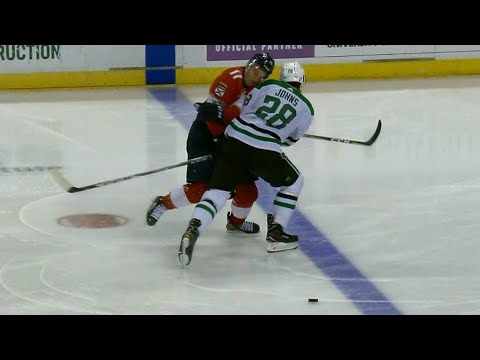 Huberdeau exits Panthers-Stars game after thunderous hit from Johns