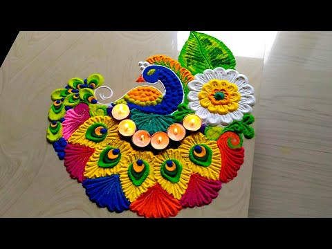 Easy & attractive with colorful peacock rangoli for welcome 2019 thumbnail
